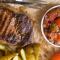 Стейк с маринадом из лайма и запеченными томатами